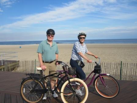 Tandem Bike Inn guests out for a bike ride on the Belmar Beach boardwalk
