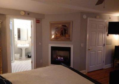 Belmar Hotel King room fireplace